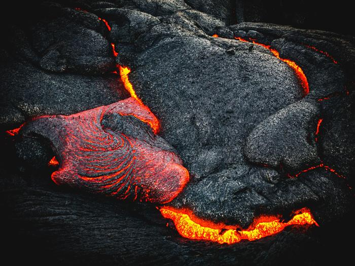 Flowing lava where Obsidian is made from